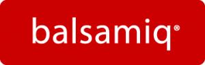 Logo for balsamiq on red background