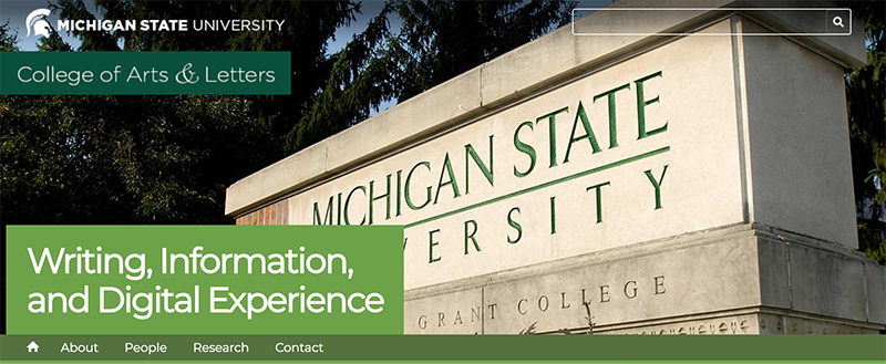 Screenshot of Michigan State's WIDE website. Shows a shot of the entry sign for Michigan State University along with an overlay for WIDE, the school logo, and a search bar
