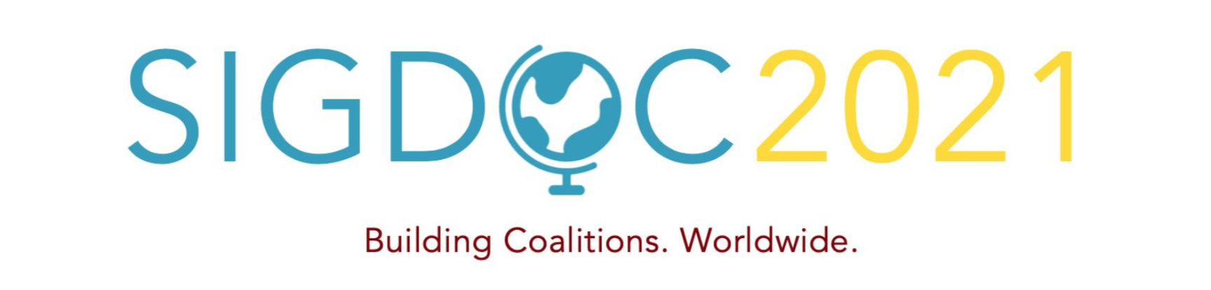 logo for SIGDOC 2021 with the O in the word SIGDOC replaced with the icon of a globe. Text under the logo reads Building Coalitions. Worldwide.