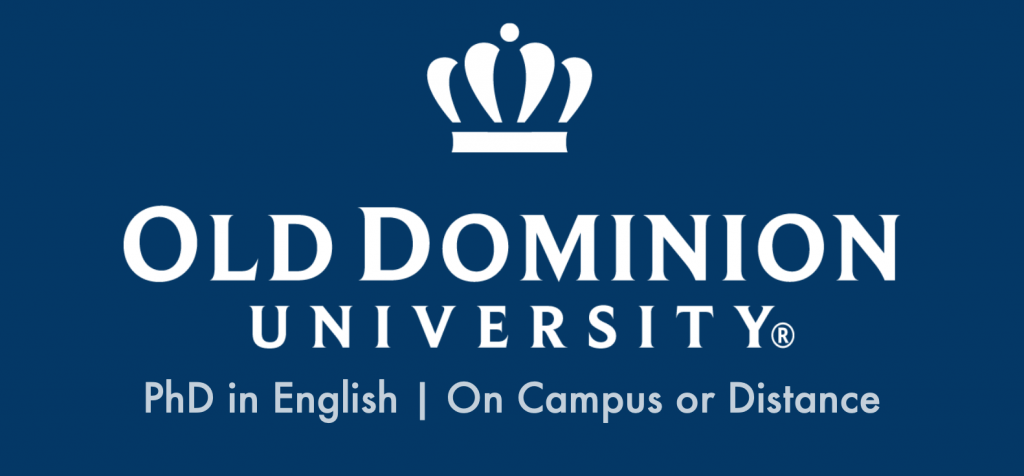 ODU ad stating: Old Dominion University: PhD in English, On-Campus or Distance