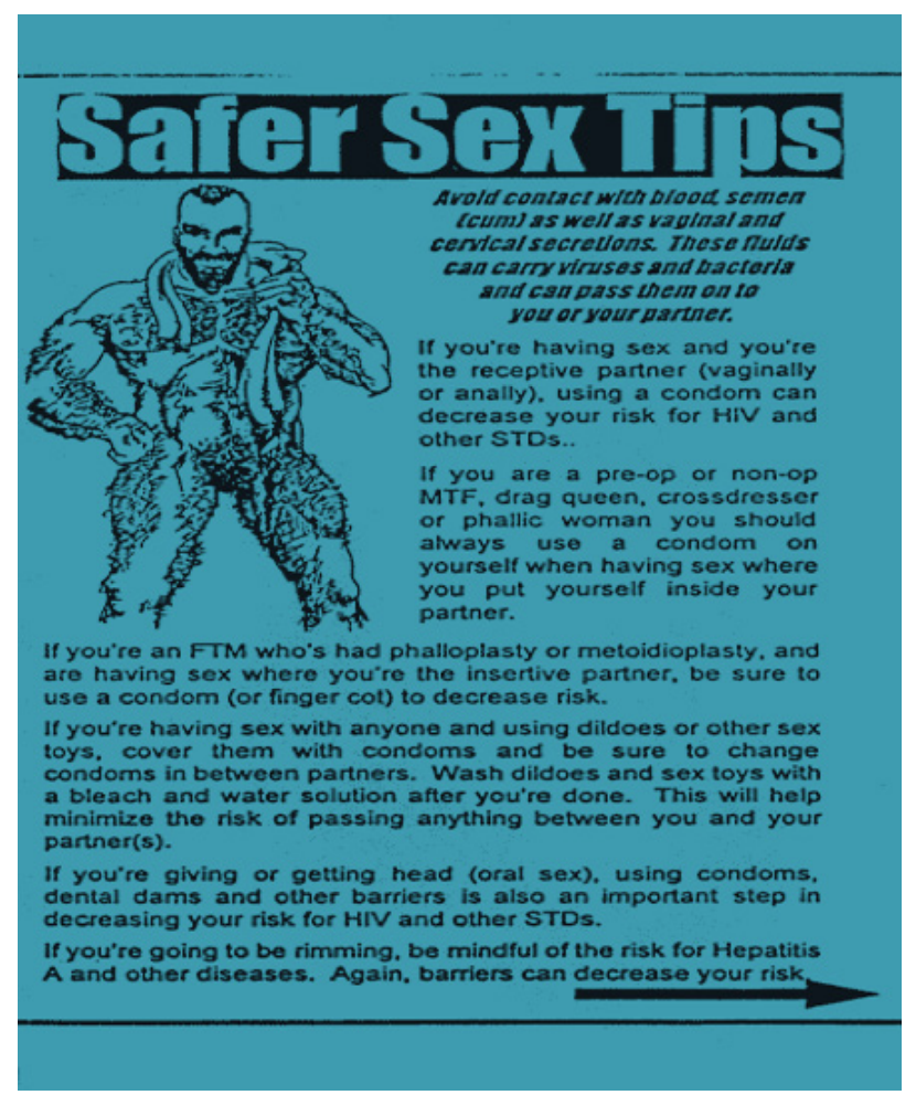 Safer sex tips flyer featuring a trans masculine body