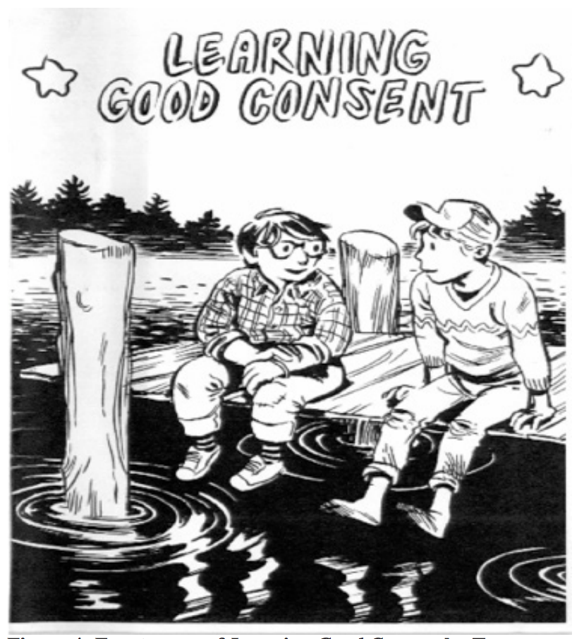 Front cover of Learning Good Consent showing two ambiguous, hand drawn characters