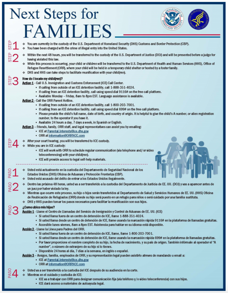 document with text on it detailing steps for immigrant families at the border