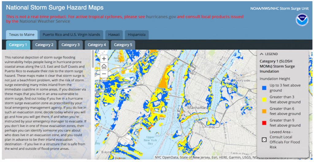 Example of an interactive risk viewer. Screenshot from NOAA's National Storm Surge Hazard Maps, showing the projected storm surge resulting from a Category 1 hurricane in New York City, NY, U.S.A.