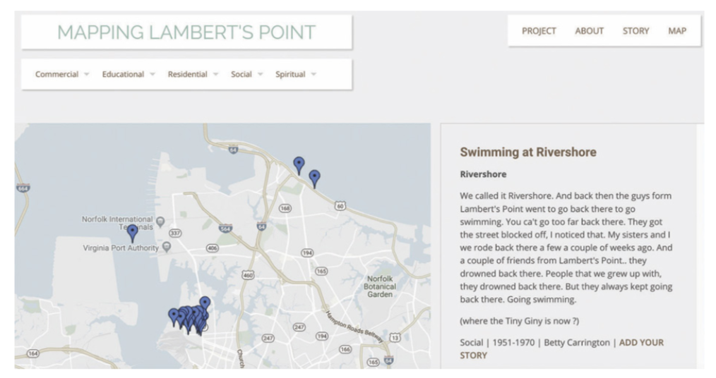 "Example of a story map. Screenshot from ""Mapping Lambert's Point"""
