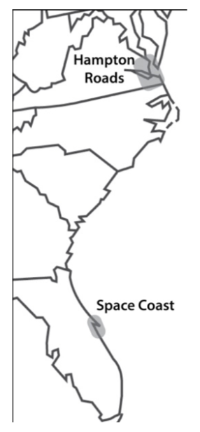 Map of the southeast United States with location of study regions highlighted