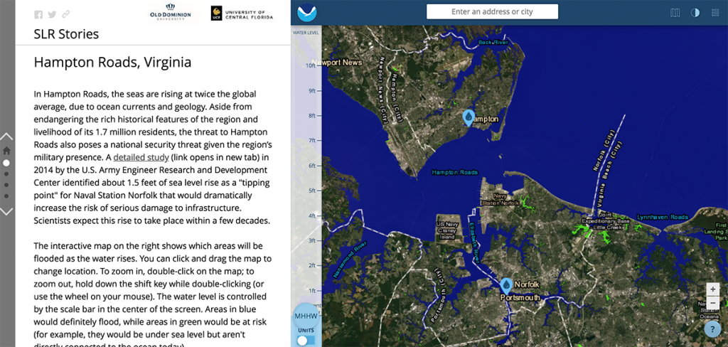 Screenshot of the introduction to the Hampton Roads segment.