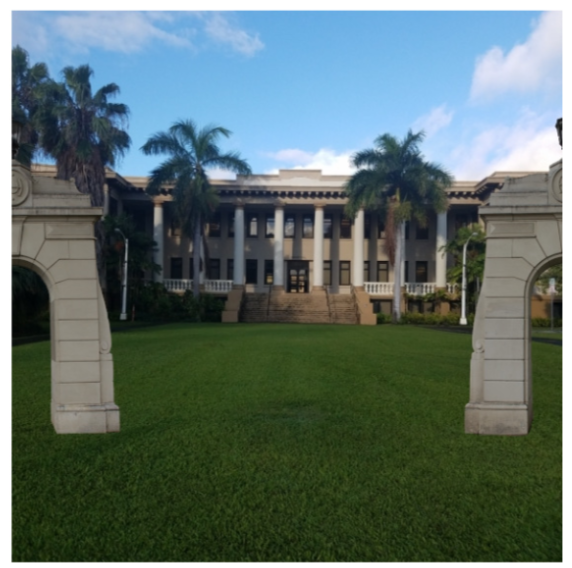 This color photograph shows the outcome of using the app tool in Figure 4, which is an image taken on campus (of the pillared Hawaii Hall landmark), only with half of each Founders Gate on each side of the image, giving the impression that the gates have been moved to this location and walking through them, across a manicured lawn, will take the app user to Hawaii Hall.