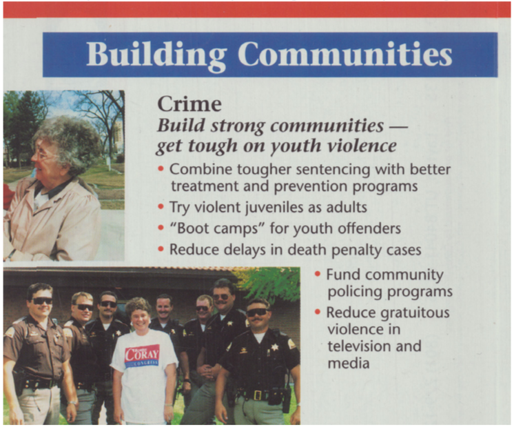"Upper-middle frame of Coray for Congress brochure mailer. Bold text at the top reads ""Building Communities"" in white font on a blue banner background. Below that reads ""Crime – Build strong communities – get tough on youth violence. Combine tougher sentencing with better treatment and prevention programs. Try violent juveniles as adults. Boot camps for youth offenders. Reduce delays in death penalty cases. Fund community policing programs. Reduce gratuitous violence in television and media."" A photo at the bottom of the frame features Bobbie Coray in a campaign t-shirt surrounded by white appearing male presenting law enforcement officers in brown uniforms."