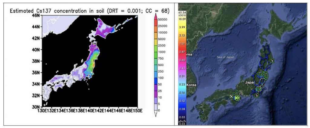 On the left: A static heat map of Japan showing the relative and total radiation deposition and soil concentrations. On the right: A screen capture of a satellite view of Japan from Safecast's dynamic web-based map showing GPS-tagged radiation data points.