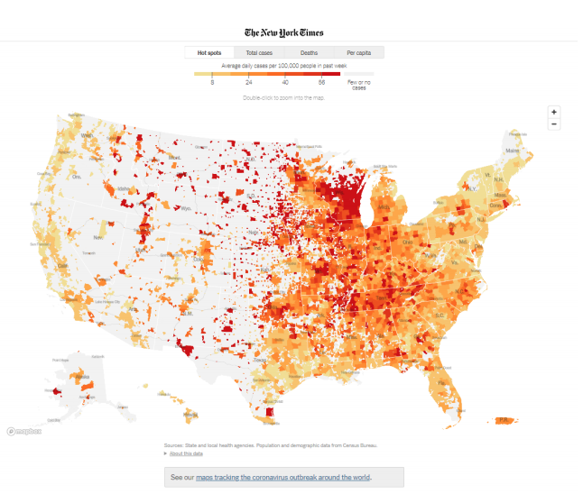 A screenshot of the New York Times' Coronavirus map of the United States, tracking the outbreak across the US by county. The map is colorized on a range from light yellow to dark red, indicating average daily cases per 100,000 people over the past week.