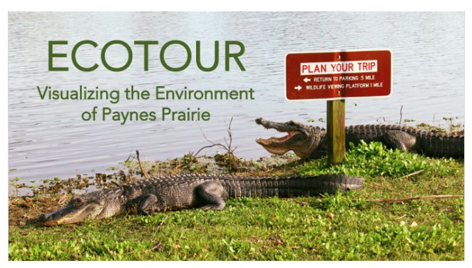 "An image of two alligators beside a lake and a brown state park service sign that reads ""plan your trip"" in red lettering. In green, the banner reads ""Ecotour: Visualizing the environment of Paynes Prairie."""