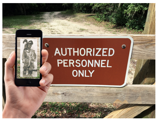 Image of an Authorized Personnel Only sign and a hand holding a phone with an image of Seminole Chief Billy Bowlegs displayed.