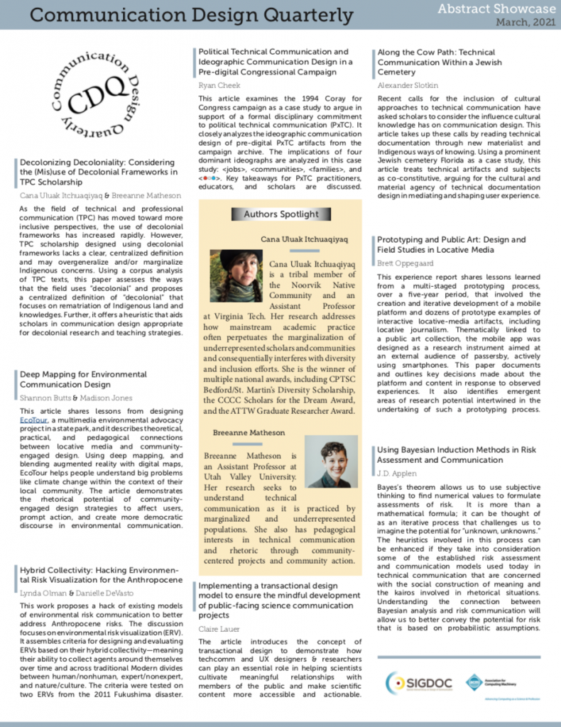 March 2021 Abstract Zine. Shows a number of abstracts for the latest articles from CDQ