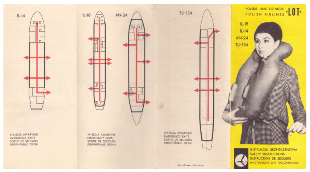 Image of flight safety instructions with four plane body diagrams with exits marked and a woman wearing a life vest.